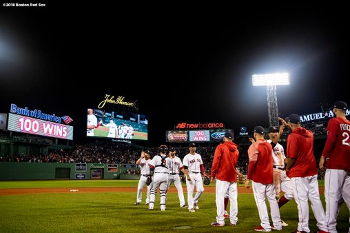 BOSTON, MA - SEPTEMBER 12: Members of the Boston Red Sox celebrate a victory against the Toronto Blue Jays on September 12, 2018 at Fenway Park in Boston, Massachusetts. It was their 100th win of the season. (Photo by Billie Weiss/Boston Red Sox/Getty Images) *** Local Caption ***