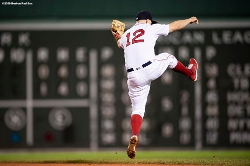 BOSTON, MA - SEPTEMBER 12: Brock Holt #12 of the Boston Red Sox celebrates a victory against the Toronto Blue Jays on September 12, 2018 at Fenway Park in Boston, Massachusetts. (Photo by Billie Weiss/Boston Red Sox/Getty Images) *** Local Caption *** Brock Holt