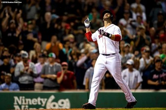BOSTON, MA - SEPTEMBER 13: J.D. Martinez #28 of the Boston Red Sox reacts after hitting a solo home run during the second inning of a game against the Toronto Blue Jays on September 13, 2018 at Fenway Park in Boston, Massachusetts. (Photo by Billie Weiss/Boston Red Sox/Getty Images) *** Local Caption *** J.D. Martinez