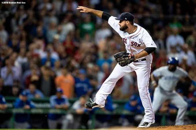 BOSTON, MA - SEPTEMBER 13: Brandon Workman #44 of the Boston Red Sox delivers during the eighth inning of a game against the Toronto Blue Jays on September 13, 2018 at Fenway Park in Boston, Massachusetts. (Photo by Billie Weiss/Boston Red Sox/Getty Images) *** Local Caption *** Brandon Workman