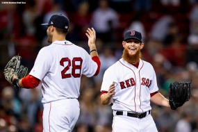 BOSTON, MA - SEPTEMBER 13: Craig Kimbrel #46 and J.D Martinez #28 of the Boston Red Sox celebrate a victory against the Toronto Blue Jays on September 13, 2018 at Fenway Park in Boston, Massachusetts. (Photo by Billie Weiss/Boston Red Sox/Getty Images) *** Local Caption *** Craig Kimbrel; J.D. Martinez
