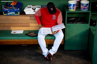 BOSTON, MA - SEPTEMBER 14: Manager Alex Cora of the Boston Red Sox studies notes before a game against the New York Mets on September 14, 2018 at Fenway Park in Boston, Massachusetts. (Photo by Billie Weiss/Boston Red Sox/Getty Images) *** Local Caption *** Alex Cora