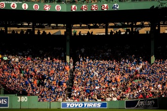 BOSTON, MA - SEPTEMBER 15: Fans of the New York Mets cheer during a game against the Boston Red Sox on September 15, 2018 at Fenway Park in Boston, Massachusetts. (Photo by Billie Weiss/Boston Red Sox/Getty Images) *** Local Caption ***