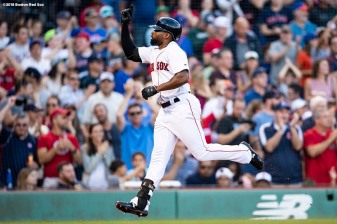 BOSTON, MA - SEPTEMBER 15: Jackie Bradley Jr. #19 of the Boston Red Sox reacts after hitting a home run that was reviewed and overruled as a ground rule double during the fifth inning of a game against the New York Mets on September 15, 2018 at Fenway Park in Boston, Massachusetts. (Photo by Billie Weiss/Boston Red Sox/Getty Images) *** Local Caption *** Jackie Bradley Jr.