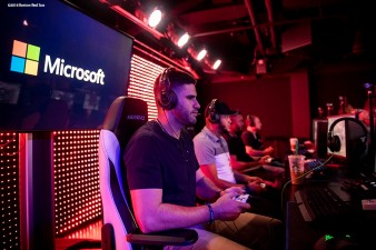 September 17, 2018, New York City, NY: Boston Red Sox designated hitter J.D. Martinez plays video games during a visit to the Microsoft gaming studio in New York City, New York Monday, September 17, 2018. (Photo by Billie Weiss/Boston Red Sox)