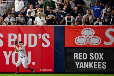 NEW YORK, NY - SEPTEMBER 18: Brock Holt #12 of the Boston Red Sox catches a fly ball during the third inning of a game against the New York Yankees on September 18, 2018 at Yankee Stadium in the Bronx borough of New York City. (Photo by Billie Weiss/Boston Red Sox/Getty Images) *** Local Caption *** Brock Holt