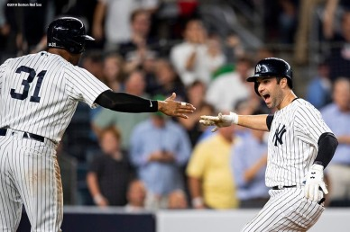 NEW YORK, NY - SEPTEMBER 18: Neil Walker #14 of the New York Yankees reacts with Aaron Hicks #31 after hitting a go ahead three run home run during the seventh inning of a game against the Boston Red Sox on September 18, 2018 at Yankee Stadium in the Bronx borough of New York City. (Photo by Billie Weiss/Boston Red Sox/Getty Images) *** Local Caption *** Neil Walker; Aaron Hicks