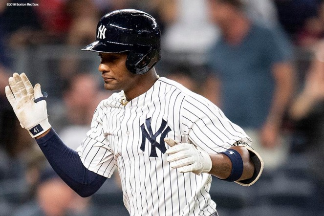 NEW YORK, NY - SEPTEMBER 19: Miguel Andujar #41 of the New York Yankees reacts after hitting a solo home run during the second inning of a game against the Boston Red Sox on September 19, 2018 at Yankee Stadium in the Bronx borough of New York City. (Photo by Billie Weiss/Boston Red Sox/Getty Images) *** Local Caption *** Miguel Andujar