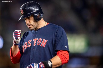NEW YORK, NY - SEPTEMBER 20: J.D. Martinez #28 of the Boston Red Sox reacts after hitting an RBI single during the first inning of a game against the New York Yankees on September 20, 2018 at Yankee Stadium in the Bronx borough of New York City. (Photo by Billie Weiss/Boston Red Sox/Getty Images) *** Local Caption *** J.D. Martinez