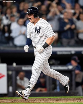 NEW YORK, NY - SEPTEMBER 20: Luke Voit #45 of the New York Yankees reacts after hitting a two run home run during the second inning of a game against the Boston Red Sox on September 20, 2018 at Yankee Stadium in the Bronx borough of New York City. (Photo by Billie Weiss/Boston Red Sox/Getty Images) *** Local Caption *** Luke Voit