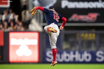 NEW YORK, NY - SEPTEMBER 20: Brock Holt #12 of the Boston Red Sox catches a line drive during the fifth inning of a game against the New York Yankees on September 20, 2018 at Yankee Stadium in the Bronx borough of New York City. (Photo by Billie Weiss/Boston Red Sox/Getty Images) *** Local Caption *** Brock Holt