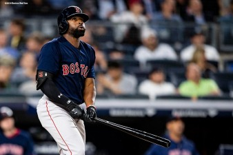 NEW YORK, NY - SEPTEMBER 20: Jackie Bradley Jr. #19 of the Boston Red Sox hits a solo home run during the seventh inning of a game against the New York Yankees on September 20, 2018 at Yankee Stadium in the Bronx borough of New York City. (Photo by Billie Weiss/Boston Red Sox/Getty Images) *** Local Caption *** Jackie Bradley Jr.
