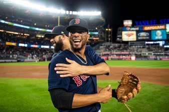 NEW YORK, NY - SEPTEMBER 20: Xander Bogaerts #2 and David Price #24 of the Boston Red Sox celebrate as they clinch the American League East division after a victory against the New York Yankees on September 20, 2018 at Yankee Stadium in the Bronx borough of New York City. (Photo by Billie Weiss/Boston Red Sox/Getty Images) *** Local Caption *** Xander Bogaerts; David Price