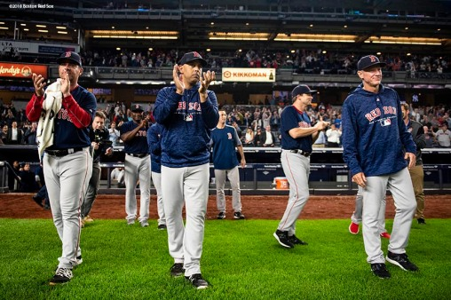 NEW YORK, NY - SEPTEMBER 20: Manager Alex Cora of the Boston Red Sox celebrates as they clinch the American League East division after a victory against the New York Yankees on September 20, 2018 at Yankee Stadium in the Bronx borough of New York City. (Photo by Billie Weiss/Boston Red Sox/Getty Images) *** Local Caption *** Alex Cora