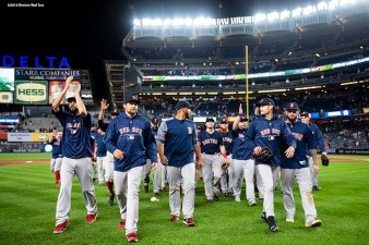 NEW YORK, NY - SEPTEMBER 20: Members of the Boston Red Sox celebrate as they clinch the American League East division after a victory against the New York Yankees on September 20, 2018 at Yankee Stadium in the Bronx borough of New York City. (Photo by Billie Weiss/Boston Red Sox/Getty Images) *** Local Caption ***