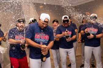 NEW YORK, NY - SEPTEMBER 20: Manager Alex Cora of the Boston Red Sox celebrates in the clubhouse after clinching the American League East division following a victory against the New York Yankees on September 20, 2018 at Yankee Stadium in the Bronx borough of New York City. (Photo by Billie Weiss/Boston Red Sox/Getty Images) *** Local Caption *** Alex Cora
