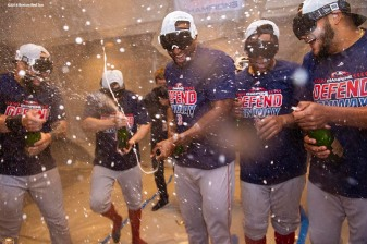 NEW YORK, NY - SEPTEMBER 20: Eduardo Nunez #$36 and Eduardo Rodriguez #57 of the Boston Red Sox celebrate in the clubhouse after clinching the American League East division following a victory against the New York Yankees on September 20, 2018 at Yankee Stadium in the Bronx borough of New York City. (Photo by Billie Weiss/Boston Red Sox/Getty Images) *** Local Caption *** Eduardo Nunez; Eduardo Rodriguez