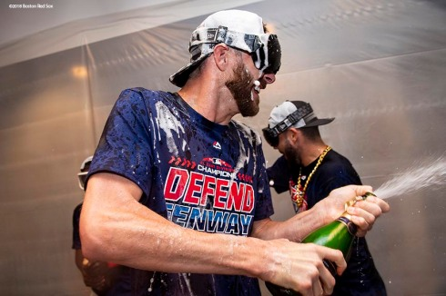 NEW YORK, NY - SEPTEMBER 20: Chris Sale #41 of the Boston Red Sox celebrates in the clubhouse after clinching the American League East division following a victory against the New York Yankees on September 20, 2018 at Yankee Stadium in the Bronx borough of New York City. (Photo by Billie Weiss/Boston Red Sox/Getty Images) *** Local Caption *** Chris Sale