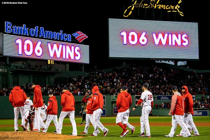 BOSTON, MA - SEPTEMBER 24: Members of the Boston Red Sox celebrate after a victory against the Baltimore Orioles to break the franchise record for most wins in a single season with 106 on September 24, 2018 at Fenway Park in Boston, Massachusetts. (Photo by Billie Weiss/Boston Red Sox/Getty Images) *** Local Caption ***