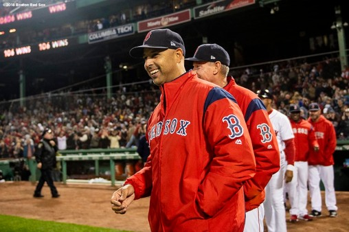 BOSTON, MA - SEPTEMBER 24: Manager Alex Cora of the Boston Red Sox reacts after a victory against the Baltimore Orioles to break the franchise record for most wins in a single season with 106 on September 24, 2018 at Fenway Park in Boston, Massachusetts. (Photo by Billie Weiss/Boston Red Sox/Getty Images) *** Local Caption *** Alex Cora