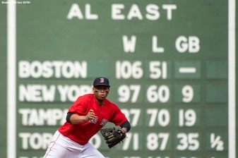 BOSTON, MA - SEPTEMBER 26: Rafael Devers #11 of the Boston Red Sox prepares to field a ground ball during the second inning of a game against the Baltimore Orioles on September 26, 2018 at Fenway Park in Boston, Massachusetts. (Photo by Billie Weiss/Boston Red Sox/Getty Images) *** Local Caption *** Rafael Devers