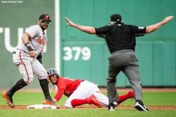 BOSTON, MA - SEPTEMBER 26: Mookie Betts #50 of the Boston Red Sox evades the tag of Steve Wilkerson #12 of the Baltimore Orioles as he steals second base during the third inning of a game on September 26, 2018 at Fenway Park in Boston, Massachusetts. It was his 30th steal of the season. (Photo by Billie Weiss/Boston Red Sox/Getty Images) *** Local Caption *** Mookie Betts; Steve Wilkerson