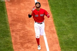 BOSTON, MA - SEPTEMBER 26: Xander Bogaerts #2 of the Boston Red Sox reacts after hitting a two run home run during the sixth inning of a game against the Baltimore Orioles on September 26, 2018 at Fenway Park in Boston, Massachusetts. (Photo by Billie Weiss/Boston Red Sox/Getty Images) *** Local Caption *** Xander Bogaerts