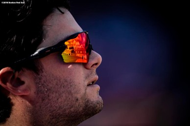 BOSTON, MA - SEPTEMBER 29: Andrew Benintendi #16 of the Boston Red Sox looks on before a game against the New York Yankees on September 29, 2018 at Fenway Park in Boston, Massachusetts. (Photo by Billie Weiss/Boston Red Sox/Getty Images) *** Local Caption *** Andrew Benintendi