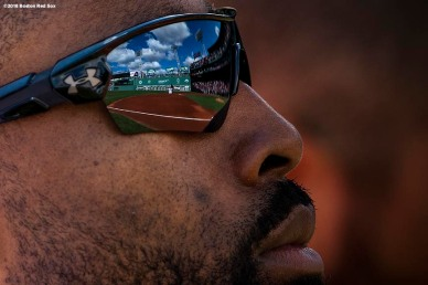 BOSTON, MA - SEPTEMBER 29: Jackie Bradley Jr. #19 of the Boston Red Sox looks on before a game against the New York Yankees on September 29, 2018 at Fenway Park in Boston, Massachusetts. (Photo by Billie Weiss/Boston Red Sox/Getty Images) *** Local Caption *** Jackie Bradley Jr.