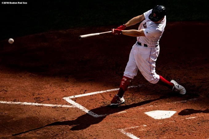BOSTON, MA - SEPTEMBER 29: Brock Holt #12 of the Boston Red Sox bats during the third inning of a game against the New York Yankees on September 29, 2018 at Fenway Park in Boston, Massachusetts. (Photo by Billie Weiss/Boston Red Sox/Getty Images) *** Local Caption *** Brock Holt