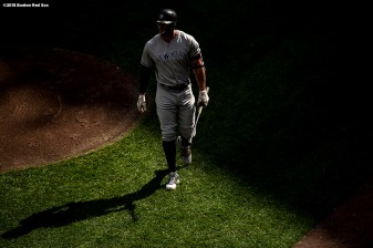 BOSTON, MA - SEPTEMBER 29: Giancarlo Stanton #27 of the New York Yankees walks toward the dugout during the third inning of a game against the Boston Red Sox on September 29, 2018 at Fenway Park in Boston, Massachusetts. (Photo by Billie Weiss/Boston Red Sox/Getty Images) *** Local Caption *** Giancarlo Stanton