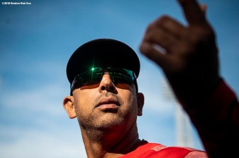 BOSTON, MA - SEPTEMBER 30: Manager Alex Cora of the Boston Red Sox looks on before a game against the New York Yankees on September 30, 2018 at Fenway Park in Boston, Massachusetts. (Photo by Billie Weiss/Boston Red Sox/Getty Images) *** Local Caption *** Alex Cora
