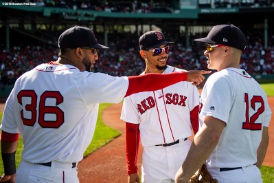 BOSTON, MA - SEPTEMBER 30: Eduardo Nunez #36, Mookie Betts #50, and Brock Holt #12 of the Boston Red Sox talk before a game against the New York Yankees on September 30, 2018 at Fenway Park in Boston, Massachusetts. (Photo by Billie Weiss/Boston Red Sox/Getty Images) *** Local Caption *** Eduardo Nunez; Brock Holt; Mookie Betts