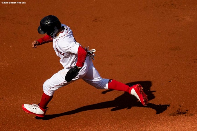 BOSTON, MA - SEPTEMBER 30: Mookie Betts #50 of the Boston Red Sox runs as he rounds the bases during the first inning of a game against the New York Yankees on September 30, 2018 at Fenway Park in Boston, Massachusetts. (Photo by Billie Weiss/Boston Red Sox/Getty Images) *** Local Caption *** Mookie Betts