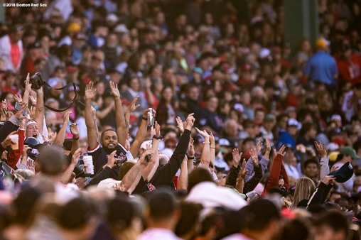 BOSTON, MA - SEPTEMBER 30: Fans participate in the wave during a game between the Boston Red Sox and the New York Yankees on September 30, 2018 at Fenway Park in Boston, Massachusetts. (Photo by Billie Weiss/Boston Red Sox/Getty Images) *** Local Caption ***
