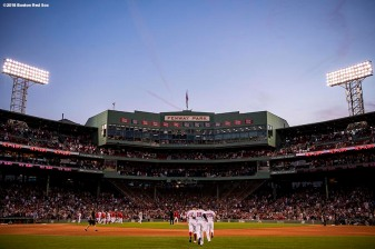 BOSTON, MA - SEPTEMBER 30: Members of the Boston Red Sox celebrate a victory on the final game of the season after a game against the New York Yankees on September 30, 2018 at Fenway Park in Boston, Massachusetts. (Photo by Billie Weiss/Boston Red Sox/Getty Images) *** Local Caption ***