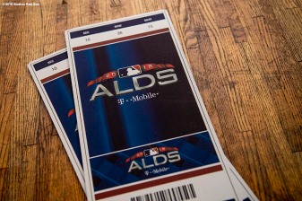 BRIGHTON, MA - SEPTEMBER 30: American League Division Series tickets are displayed as Jackie Bradley Jr. #19 of the Boston Red Sox visits Boston Green Academy on October 1, 2018 in Brighton, Massachusetts. (Photo by Billie Weiss/Boston Red Sox/Getty Images) *** Local Caption ***