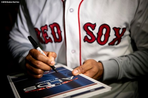 BRIGHTON, MA - SEPTEMBER 30: Jackie Bradley Jr. #19 of the Boston Red Sox signs autographs during a visit to Boston Green Academy on October 1, 2018 in Brighton, Massachusetts. (Photo by Billie Weiss/Boston Red Sox/Getty Images) *** Local Caption *** Jackie Bradley Jr.