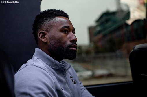 BRIGHTON, MA - SEPTEMBER 30: Jackie Bradley Jr. #19 of the Boston Red Sox looks on from the car during a visit to Boston Green Academy on October 1, 2018 in Brighton, Massachusetts. (Photo by Billie Weiss/Boston Red Sox/Getty Images) *** Local Caption *** Jackie Bradley Jr.