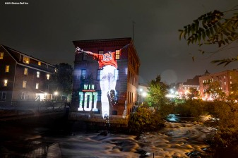 DORCHESTER, MA - OCTOBER 1: An image of Jackie Bradley Jr. #19 of the Boston Red Sox is projected onto the Baker Chocolate Factory on October 1, 2018 in Dorchester, Massachusetts. (Photo by Billie Weiss/Boston Red Sox/Getty Images) *** Local Caption *** Jackie Bradley Jr.