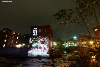 DORCHESTER, MA - OCTOBER 1: An image of Eduardo Nunez #36 of the Boston Red Sox is projected onto the Baker Chocolate Factory on October 1, 2018 in Dorchester, Massachusetts. (Photo by Billie Weiss/Boston Red Sox/Getty Images) *** Local Caption *** Eduardo Nunez