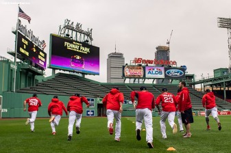 BOSTON, MA - OCTOBER 3: Members of the Boston Red Sox run sprints during a workout before the American League Division Series on October 3, 2018 at Fenway Park in Boston, Massachusetts. (Photo by Billie Weiss/Boston Red Sox/Getty Images) *** Local Caption ***