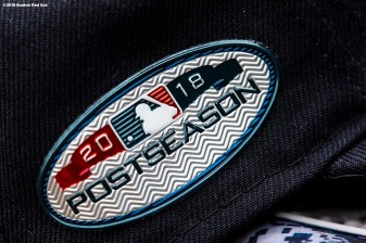 BOSTON, MA - OCTOBER 3: A postseason patch is shown during a Boston Red Sox workout before the American League Division Series on October 3, 2018 at Fenway Park in Boston, Massachusetts. (Photo by Billie Weiss/Boston Red Sox/Getty Images) *** Local Caption ***
