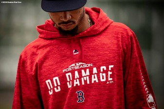 BOSTON, MA - OCTOBER 3: Mookie Betts #50 of the Boston Red Sox looks on during a workout before the American League Division Series on October 3, 2018 at Fenway Park in Boston, Massachusetts. (Photo by Billie Weiss/Boston Red Sox/Getty Images) *** Local Caption *** Mookie Betts