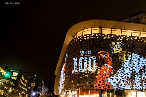 October 3, 2018, Cambridge, MA: An image of Boston Red Sox outfielder Mookie Betts is projected on the Novartis Building in Cambridge, MA on Wednesday, October 3, 2018. (Photo by Matthew Thomas/Boston Red Sox)