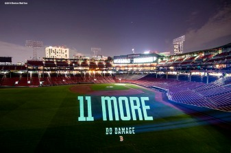 BOSTON, MA - OCTOBER 4: A Boston Red Sox 11 More Wins logo is projected onto the field Fenway Park on October 4, 2018 in Boston, Massachusetts. (Photo by Billie Weiss/Boston Red Sox/Getty Images) *** Local Caption ***