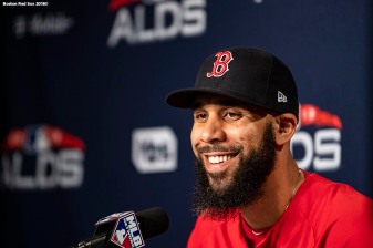 BOSTON, MA - OCTOBER 5: David Price #24 of the Boston Red Sox addresses the media at a press conference before game one of the American League Division Series against the New York Yankees on October 5, 2018 at Fenway Park in Boston, Massachusetts. (Photo by Billie Weiss/Boston Red Sox/Getty Images) *** Local Caption *** David Price