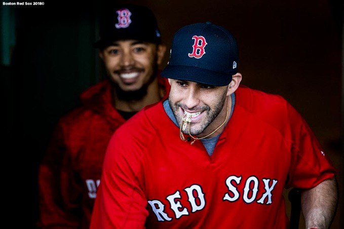 BOSTON, MA - OCTOBER 5: J.D. Martinez #28 and Mookie Betts #50 of the Boston Red Sox react as they exit the dugout before game one of the American League Division Series against the New York Yankees on October 5, 2018 at Fenway Park in Boston, Massachusetts. (Photo by Billie Weiss/Boston Red Sox/Getty Images) *** Local Caption *** J.D. Martinez; Mookie Betts
