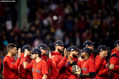 BOSTON, MA - OCTOBER 5: Members of the Boston Red Sox celebrate a victory in game one of the American League Division Series against the New York Yankees on October 5, 2018 at Fenway Park in Boston, Massachusetts. (Photo by Billie Weiss/Boston Red Sox/Getty Images) *** Local Caption ***