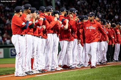 BOSTON, MA - OCTOBER 5: Manager Alex Cora of the Boston Red Sox high fives players as he is introduced before game one of the American League Division Series against the New York Yankees on October 5, 2018 at Fenway Park in Boston, Massachusetts. (Photo by Billie Weiss/Boston Red Sox/Getty Images) *** Local Caption *** Alex Cora